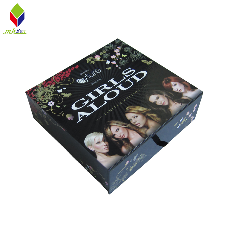 Custom Clamshell Book Shape Black Cardboard Magnet Gift Box