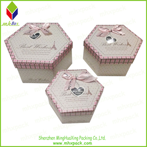 Striped Paper Hexagon Box for Chocolate Packaging