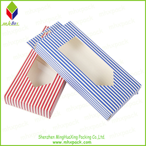 PVC Window Striped Packing Gift Cardboard Box with Handle